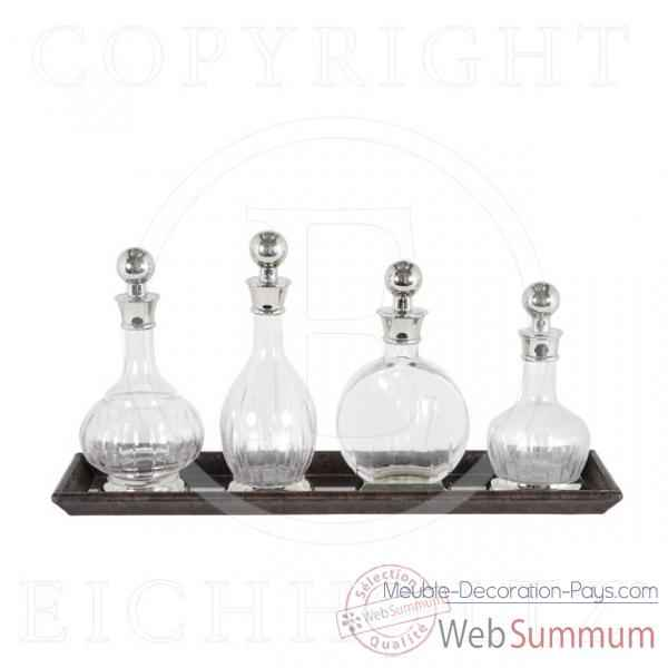 Eichholtz carafe a decanter armagnac set de 4   nickel et cuir marron -acc05183