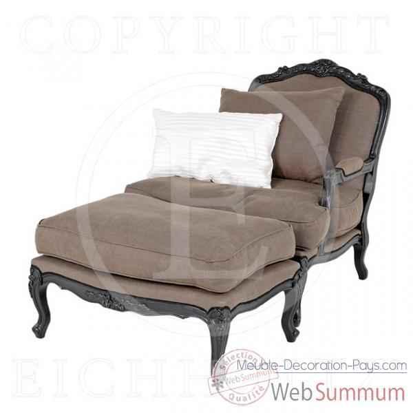 Eichholtz fauteuil imperial finition noir et lin gris de meuble design hollan - Canape avec repose pied ...
