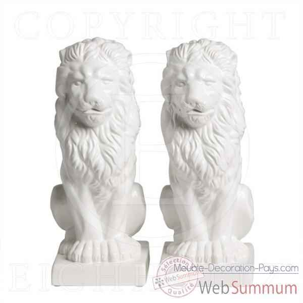 Eichholtz lion assis set de 2 ceramique -cer05857
