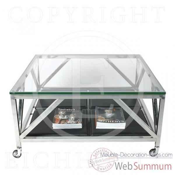 Eichholtz table basse prado acier inoxydable avec verre de for Meuble bureau verre acier