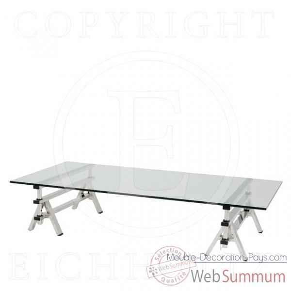 Eichholtz table basse shaker acier inoxydable avec verre for Meuble bureau verre acier