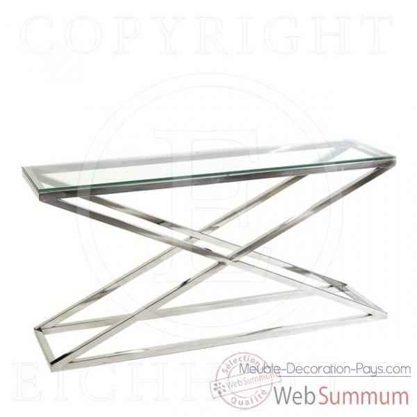 Eichholtz table console criss cross acier inoxydable avec for Meuble bureau verre acier