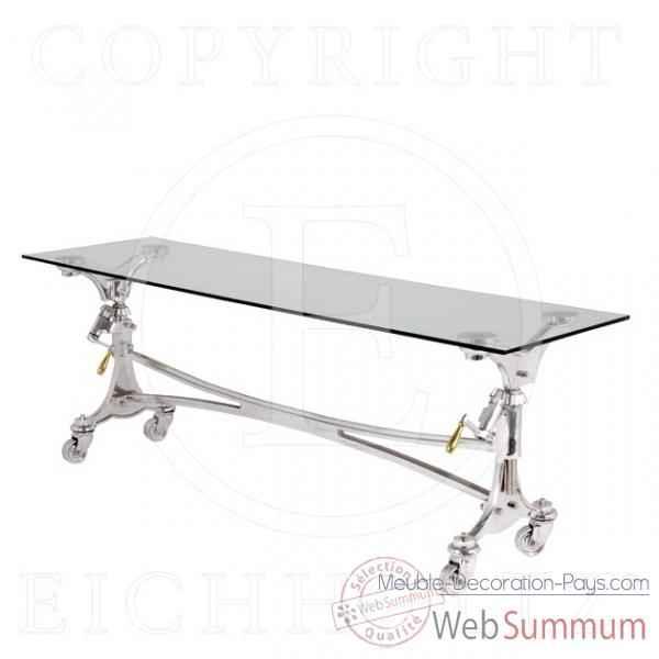 Eichholtz table console sullivan aluminium et verre de meuble design hollandais - Meuble hollandais design ...