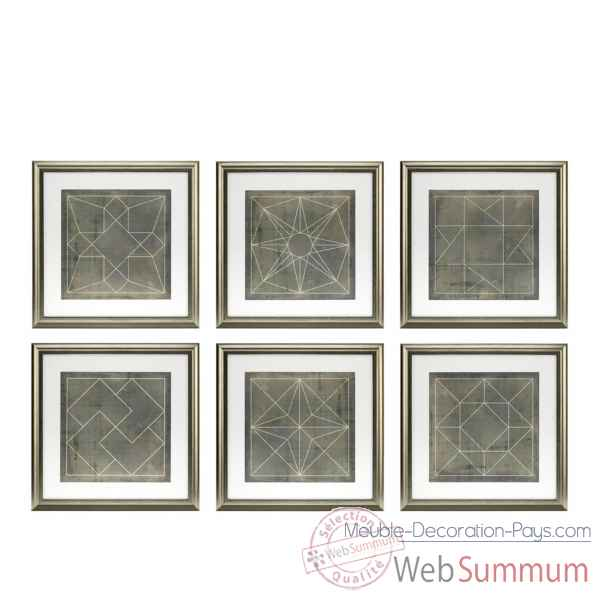 Tableaux geometric blueprints set de 6 eichholtz -110132