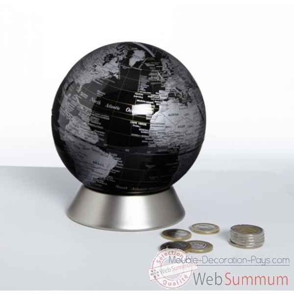 Globe tirelire orion noir emform -se-0826