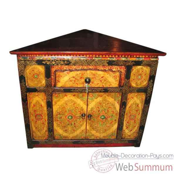 encoignure 2 portes et 1 tiroir tibet style chine c0336. Black Bedroom Furniture Sets. Home Design Ideas