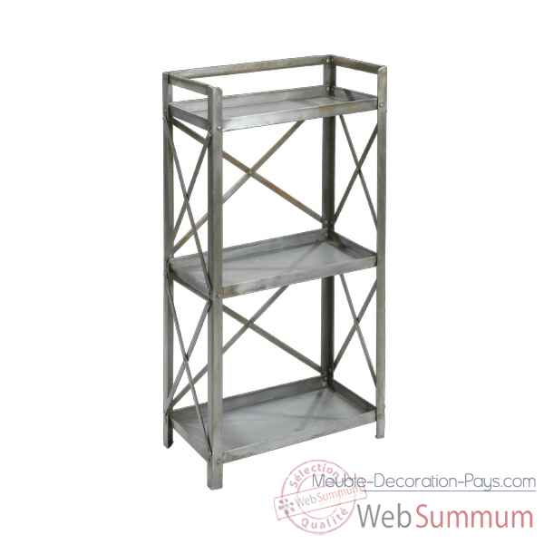 Etagere Metal 3 tables gris clair Hindigo -JC75LGREY