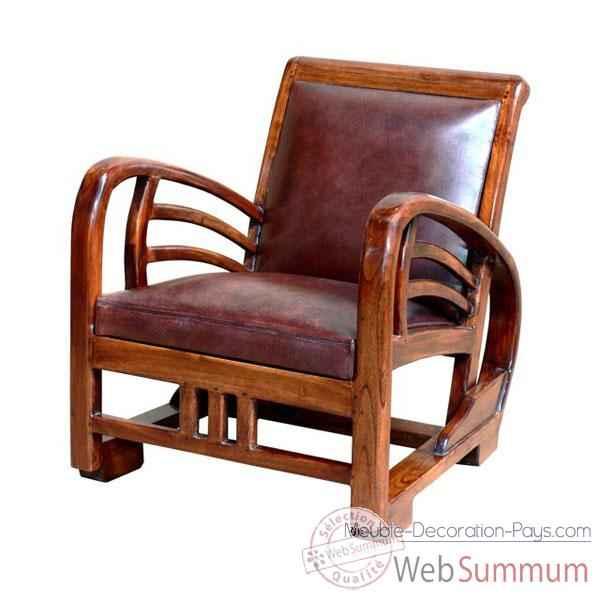 Fauteuil bali avec assise en cuir buffalo tr¨s confortable Meuble d