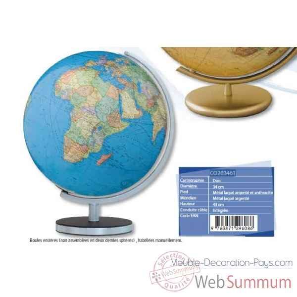 Globe DUO Argent Anthracite 34cm  CO203461