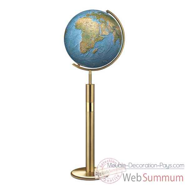 Video Globe geographique Colombus lumineux - modele Prestige  - sphere 40 cm, meridien metal laiton-CO214079