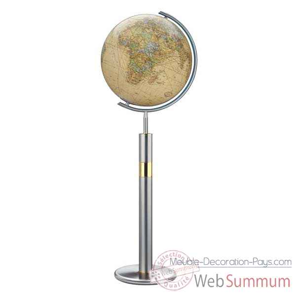 Video Globe geographique Colombus lumineux - modele Prestige  - sphere 40 cm, meridien metal acier fin-CO224089