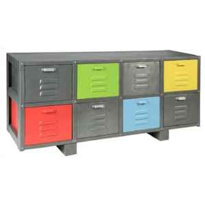 Buffet bas en metal 8 tiroirs multi couleurs hindigo -jk26multi