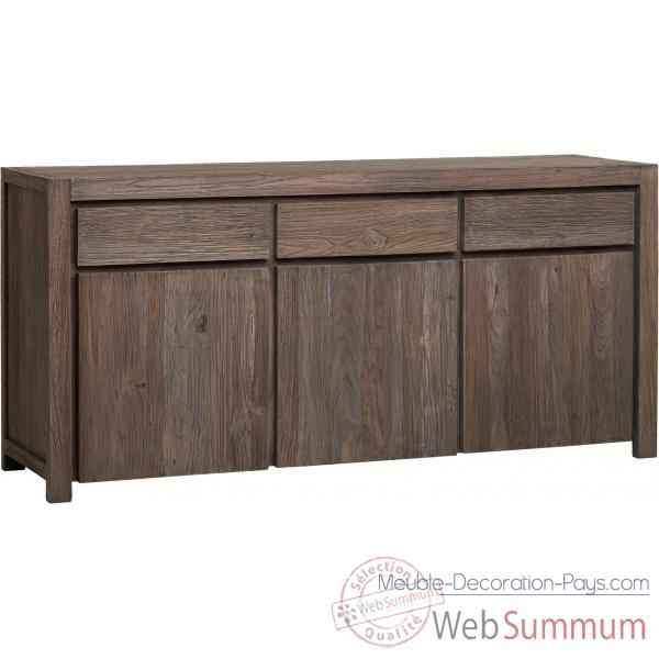 buffet 3 portes 3 tiroirs drift teck recycl gris bross kok de meuble louisiane. Black Bedroom Furniture Sets. Home Design Ideas
