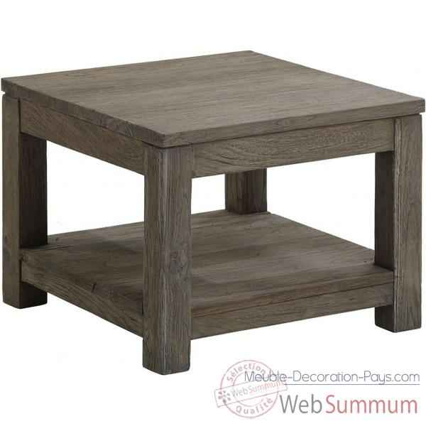 Table basse carr e pm drift teck recycl gris bross kok m39g de meuble louis - Petite table basse carree ...