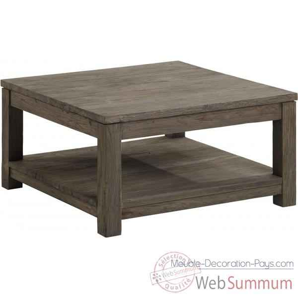Table basse carr e mm drift teck recycl gris bross kok - Table basse carree bois gris ...