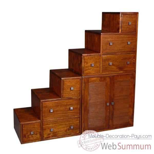 meuble escalier avec casiers et portes stri meuble d. Black Bedroom Furniture Sets. Home Design Ideas