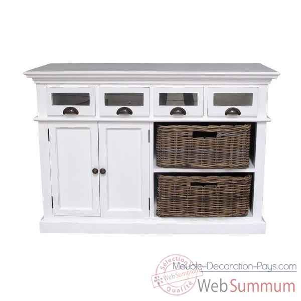 Buffet de cuisine avec 2 paniers en rotin collection halifax Nova Solo -B131