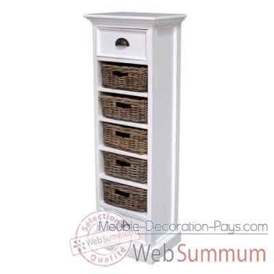 grand meuble de rangement avec 5 paniers en rotin collection halifax nova solo ca583. Black Bedroom Furniture Sets. Home Design Ideas