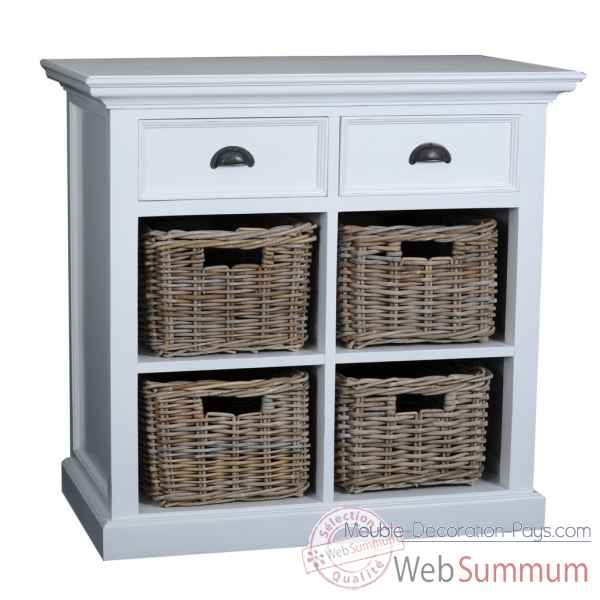 Petit buffet avec 4 paniers en rotin collection halifax Nova Solo -B181