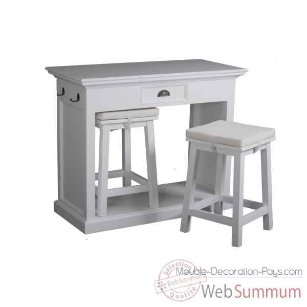 Set table de cuisine avec 2 tabourets et coussins - Table avec tabouret cuisine ...