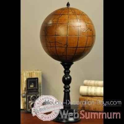 globe en cuir sur pied bois objet de curiosit da138 de. Black Bedroom Furniture Sets. Home Design Ideas