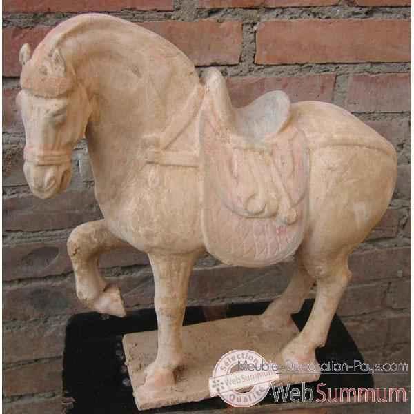 sculpture cheval anterieur lev en terre cuite artisanat chine c66500. Black Bedroom Furniture Sets. Home Design Ideas