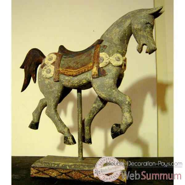 Sulpture cheval sur stick gris polychrome sur socle. artisanat Indonesien -27001