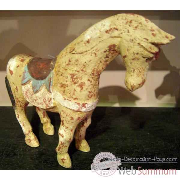 Sulpture cheval ocre polychrome artisanat Indonesien -27057
