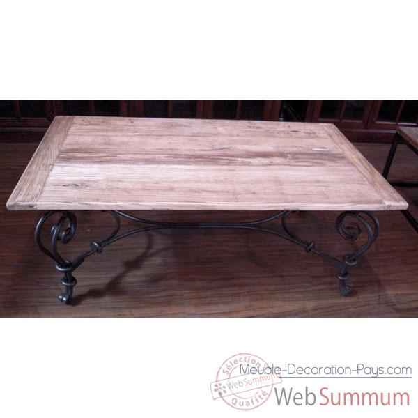 Table basse pied fer forge plateau style chine c2303nat for Table basse bois fer forge