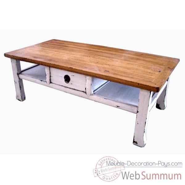 table basse 1 tiroir shaolin dessus naturel et blanc style chine dans table. Black Bedroom Furniture Sets. Home Design Ideas