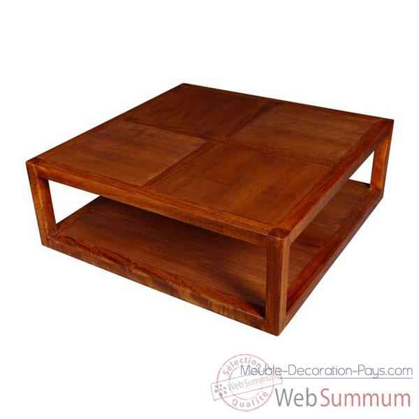 Table basse 2 planches strie Meuble d'Indonesie -53977