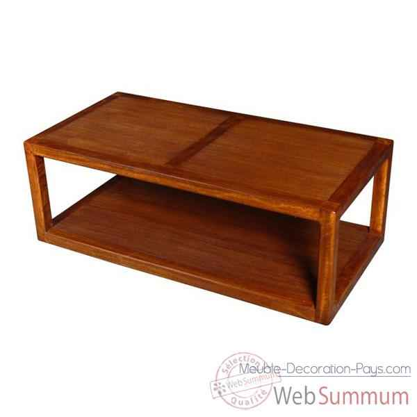 Table basse 2 planches strie Meuble d'Indonesie -53978