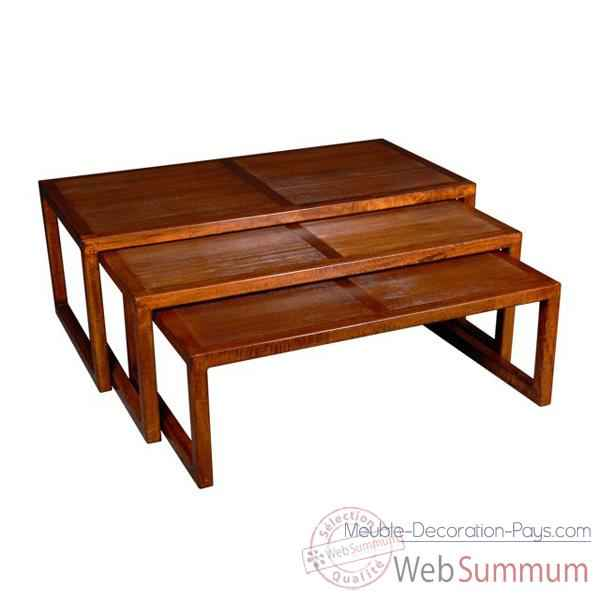 Table basse strie de salon, set de 3 Meuble d'Indonesie -53984