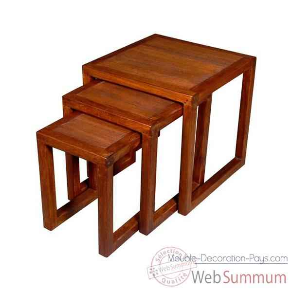 Petites tables stries a mettre en bout de canape, set de 3 Meuble d'Indonesie -53974