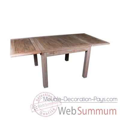 Table carree 2 rallonge en bois naturel vieilli Meuble d'Indonesie -56787NV