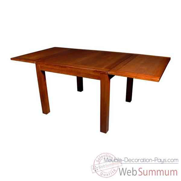 Table carree avec 2 rallonge strie Meuble d'Indonesie -53982