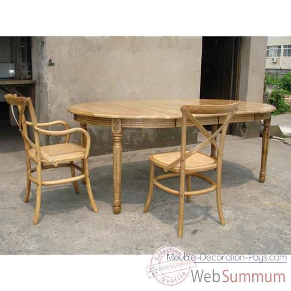 Table ronde double rallonge style Chine -C0597NAT