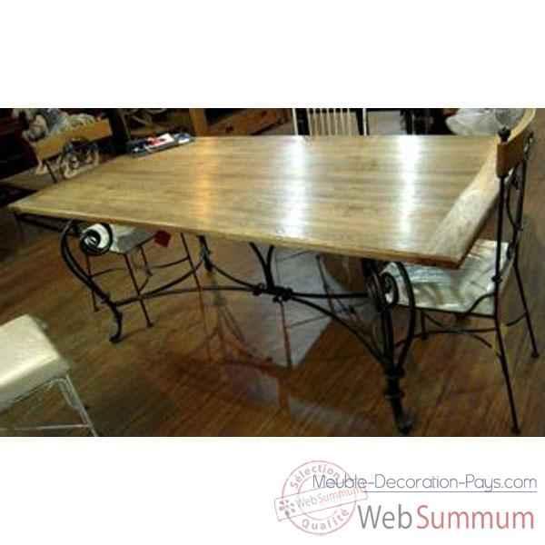 table de repas pied fer forge plateau style chine c2304nat photos meuble decoration pays de. Black Bedroom Furniture Sets. Home Design Ideas
