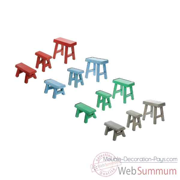 Tabouret bois set de 3 couleur rouge Hindigo -JE25RED